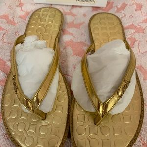 Coach gold metallic sandals